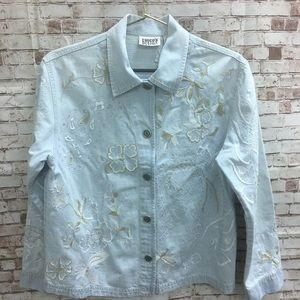 Chicos Jean Embroidered Distressed Floral Jacket 0